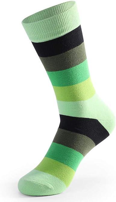 JAZ6 5 pares de medias de hombre de algodón sobre la pantorrilla raya cintura alta casual calcetines de gran tamaño verde 5 pares: Amazon.es: Ropa y accesorios