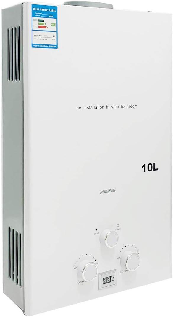 Cozyel 10 L Calentador de agua a Gas GLP Butano Propano 10 litros 20 KW Para el la casa Viaje Caravana Barco Camping Coche