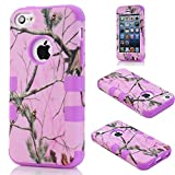 iPhone 5C Case,Lantier Defender Body Armor Realtree Camo Hard Silicon Rubber Military Rugged Protective Case Combo with Camouflage Wood Design Cover for Apple iPhone 5C [Pink Tree Purple]