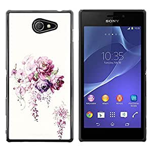 Exotic-Star ( Flower White Bouquet Begonia ) Fundas Cover Cubre Hard Case Cover para Sony Xperia M2 / Xperia M2 Aqua / Sony Xperia M2 Dual