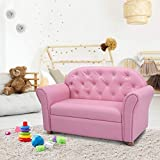 Costzon Kids Sofa, ASTM and CPSIA Certified, PU Leather Upholstered Couch, Sturdy Wood Construction, Armrest Chair for Preschool Children (37-Inch Pink Couch)