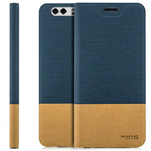 Huawei Honor 8 Case Flip Cover [zanasta Designs] Premium Wallet Case Phone Protector with Card Holder Slots [Slim Profile] Foldable Stand | Blue