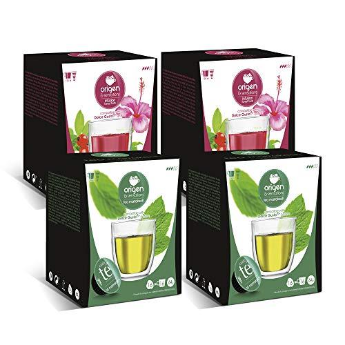 Capsulas compatibles dolce gusto Origen & Sensations | 2 x te de marrakech | 2 x infusion frutos del bosque | Total 64 capsulas