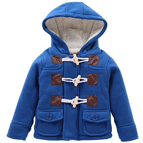 LZH Boys Girls Winter Coat Fleece Jacket with Hooded for Baby - Button 120's Suit Wool 3