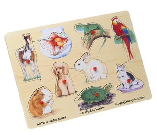 Lights Camera Interaction Wooden Pets 9-Piece Peg Puzzle ()
