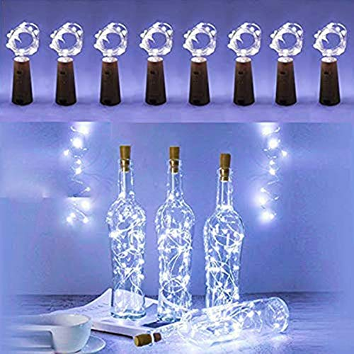 FANSIR Wine Bottle Lights with Cork, 8 Pack 15 LED Battery Operated LED Cork Shape Silver Copper Wire Fairy Mini String…