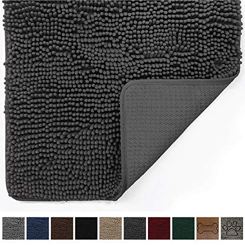 Gorilla Grip Original Indoor Durable Chenille Doormat, (48x30) Absorbent, Machine Washable Inside Mats, Low-Profile Rug Doormats for Entry, Mud Room Mat, Back Door, High Traffic Areas (Charcoal)