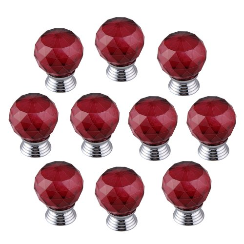 Vipeco 10x Modern Furniture Handles Red Crystal Sphere Ball Cabinet Drawer Knobs
