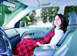 MAXSA 12V Heated Travel Blanket, Red Plaid,  Use in-Vehicle for Road Trips or for Tailgating, with car adapter and built-in timer 20014