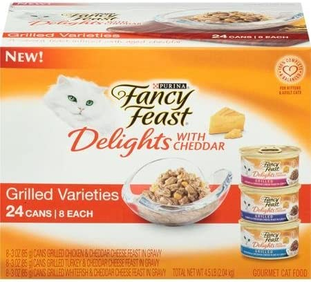 Purina Fancy Feast Delights with Cheddar Grilled Varieties Cat Food 24-3 oz. Cans 8 each Chicken, Turkey, Whitefish