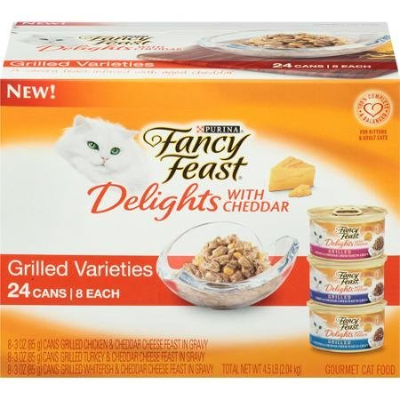 Purina Fancy Feast Delights with Cheddar Grilled Varieties Cat Food 24-3 oz. Cans [8 each: Chicken, Turkey, & Whitefish]