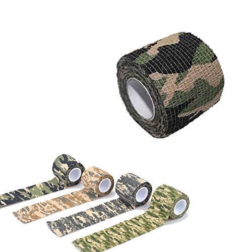 Yougle Self-adhesive Non-woven Outdoor Camouflage Wrap Rifle Hunting Cycling Tape Waterproof Camo Stealth Tape (B--Woodland Camo) ()