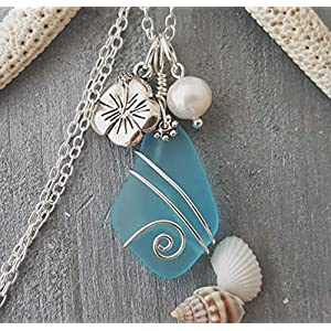 Handmade in Hawaii, wire wrapped Turquoise Bay blue sea glass necklace, Hibiscus and freshwater pearl, (Hawaii Gift…