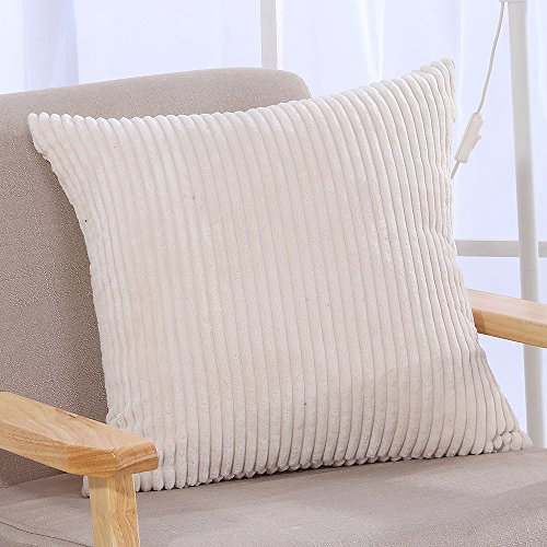 Famibay Throw Pillow Cover 24x24,Striped Corduroy Cushion Co