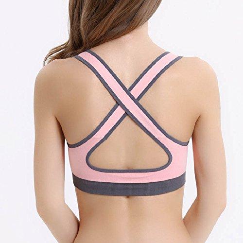 Soutien Rose Top Sport Sportif Madame gorge Studio Fitness Distances Yoga Bonbon Rembourré Amison Gilet pBF1w