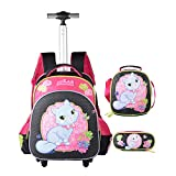 Children's Trolley Cat Bag 3 Pieces,Boys Rolling Backpack Set, 3D Toy Soccer Wheeled