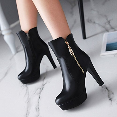 Style Women And Female Heeled And New American KHSKX Boots Rome Black European Sexy Autumn High Round Bottom Short British Winter Of Boots Female Martin Boots wA5PgI