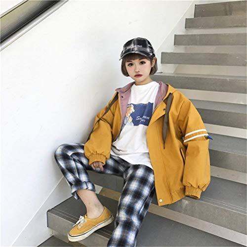 Mujer Manga Exteriores Primavera Con Battercake Relaxed Outwear Largo Deportivo Prendas Otoño Gelb Moda Cazadoras Casuales Capucha Elegantes Mujeres Niña College Encapuchado Chaqueta Casual qqA0nt