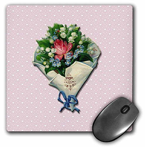 3dRose BLN Vintage Valentines Day Designs - Forget me Not Bouquet of Roses and Lily of the Valley on a Pink with White Hearts Background - MousePad (mp_154861_1)
