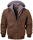 FLAVOR Men Brown Leather Motorcycle Jacket with Removable Hood (XX-Large (US standard), Brown+Gray)