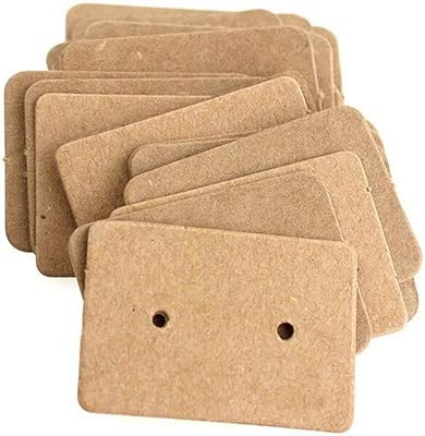 BronaGrand 100pcs Kraft Paper Earring Display Earring Tags Ear Stud Card