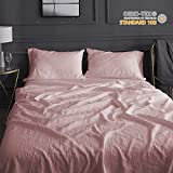 Simple&Opulence 100% Belgian Linen Sheet Set Embroidery Solid Color Super Soft Stone Washed Farmhouse (King, Pink)