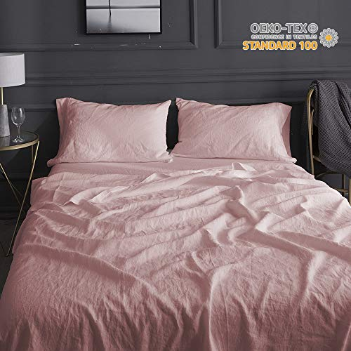 Simple&Opulence 100% Linen Embroidery Solid Color Twin Full Queen King Sheet Set (Pink, King)