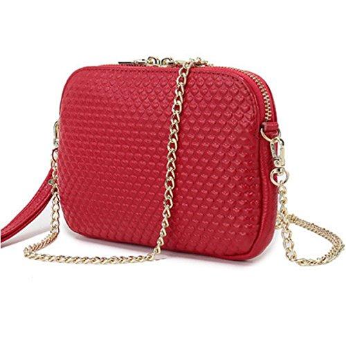 Frauen Leder Art Und Weise Beiläufige Schultertasche Kleine Quadratische Tasche,Red-OneSize