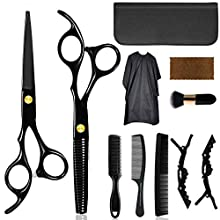 Home Hair Cutting Scissors Kit, Hair Scissors Shears Hair Trimming Thinning Shears Hairdressing Scissor Set for Barber, Salon