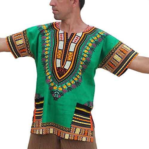 RaanPahMuang Unisex African Bright Dashiki Cotton Shirt Variety Colors #6,DK GREEN, XXL