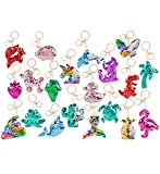RIN Flip Sequin Plush Colorful Magical Tropical Animal Assorted Keychains - 3', Clip to Bags Purses Backpacks Luggage Keys - Party Favors Decor Festival Game Prizes - Fashion Accessories (18pc Set)