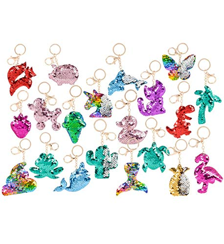 RIN Flip Sequin Plush Colorful Magical Tropical Animal Assorted Keychains - 3