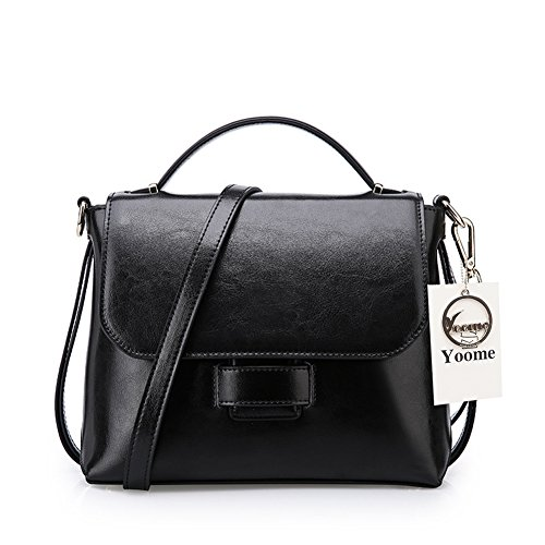 Yoome Rindsleder Leder Tägliche Crossbody Tasche Handtasche Vintage Schultertasche Geldbörsen Handy-Taschen für Frauen - Pink Schwarz sk2XU