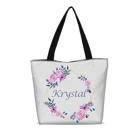 27ad0239c04 Custom Name Canvas Tote Bag Wedding Bridesmaid Bags Personalized Zipper  Shoulder Bag (Custom 02)