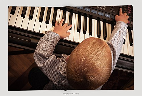 Supersoft Fleece Throw Blanket Happy Childhood And Music Little Boy Child Kid Playing On The Black Digital Midi Keyboard Piano 201741857 by vanfan