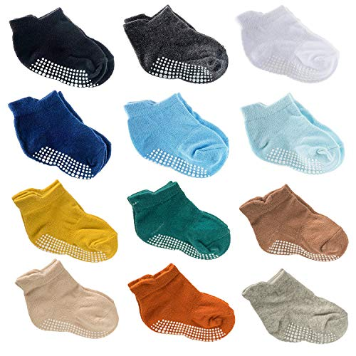 12 Pairs Baby Crew Socks Cotton Anti Skid Toddler Socks with Grips for Baby Girl Boy (12 Pack-Boys, S)