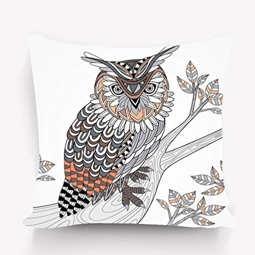 zexuandiy Decorative Square Throw Pillow Case 18 x 18 Inches Wise owl Coloring Page Exquisite Style Halftone]()