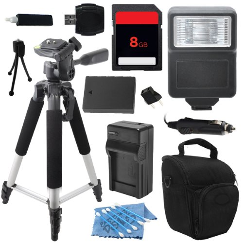 Advanced DSLR Digital Camera Flash Accessory Kit for Olympus OM-D OMD E-M1 EM1 E-M5 EM5 includes (8GB SD Memory Card + Universal Flash + Full Size Tripod + High Capacity BLN-1 BLN1 Replacement Battery with Car/International Charger + More) by ECD