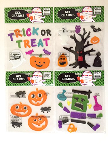Trick or Treat Spooky Frankenstein Pumpkins Assorted Halloween Gel Clings