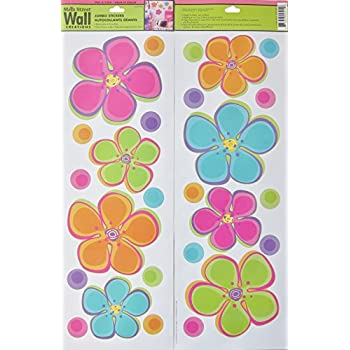 Main Street Wall Creations Jumbo Stickers   Colorful Flowers Part 4