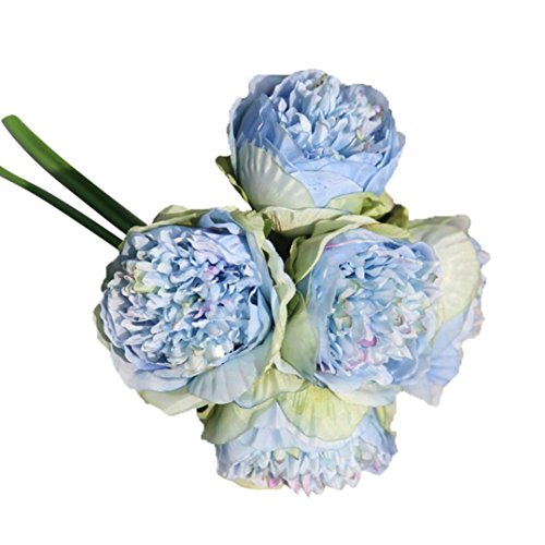Wedding Wildflower Bouquet (ChainSee 5 Head Artificial Silk Peony Flowers Bridal Bouquet Home Wedding Decor (D))