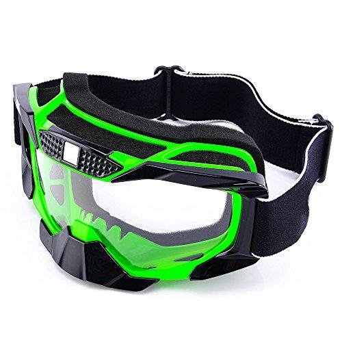 MotorFansClub Motorcycle Motocross MX Dirt Bike Off Road Riding Racing Helmet Goggles(Green)