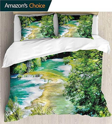 Leaf Waterfalls Copper (carmaxs-home European Style Print Bed Set,Box Stitched,Soft,Breathable,Hypoallergenic,Fade Resistant 100% Cotton Bedspread/Quilt Set,3 Pieces-Nature Woodland with Waterfalls (87