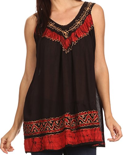 [Sakkas 497 Paradise Embroidered Relaxed Fit Blouse - Black / Red - One Size] (Embroidered Sleeveless Top)