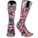 british morning socks - WOWINNER British American Flag Pattern Casual Mid-Calf Crew Socks Novelty Below Knee Stockings Athletic High Ankle Socks for Men&Women