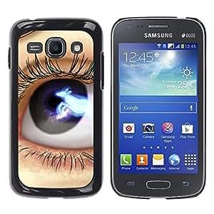 TopCaseStore / la caja del caucho duro de la cubierta de protección de la piel - Eye Blue Black Space Lashes Close Up - Samsung Galaxy Ace 3 GT-S7270 GT-S7275 GT-S7272