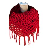 NOVAWO Fashion Women Winter Warm Knit Long Scarf Tassels Shawl Infinity & Straight (Red)