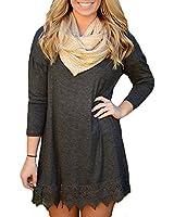 Domic Women's Casual Dress Long Sleeve A-line Lace Loose Stitching Trim Tunic Dress