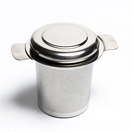 Classic Tea Strainer & Tea Maker, HIGHEST QUALITY, FDA Approved Stainless Steel - Can be used with a Tea Pot, Tea Cup, Tea Mug to Brew Loose Leaf Tea - SUPER FINE MESH WITH LID - DURABLE Tea Strainer