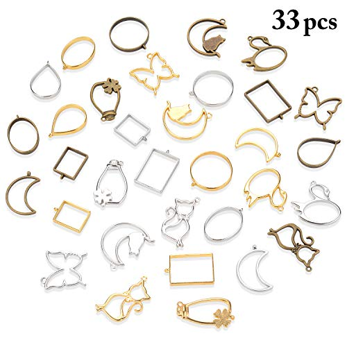 (Frame Pendant, Outgeek 33PCS Bezel Charms Pendant Open Back Bezel Pendants Hollow Mold Pendants Assorted Geometric Hollow Pressed Flower Frame Pendant DIY Crafts for Resin Earrings Necklace Bracelet)